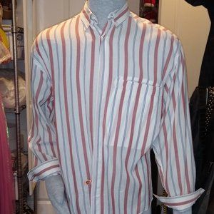 VINTAGE Gianni Versace button-down white red, blue